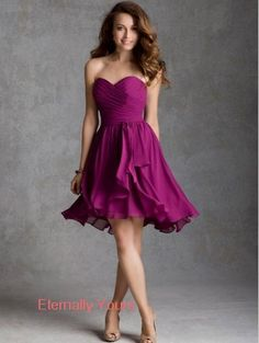 123.00$ Buy here - http://visyv.justgood.pw/vig/item.php?t=knpkto916584 - Sweet & Flow A-Line Sweetheart Knee Length Chiffon Bridesmaid Dress