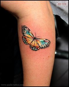 Check out Butterfly tattoo or other butterfly calf tattoo designs that will blow your mind, tattoo ideas that will be your next inspiration. Realistic Butterfly Tattoo, Butterfly Tattoos Images, Colorful Butterfly Tattoo, Butterfly Tattoo Meaning, Butterfly Tattoo Designs, Tattoo Images, Rainbow Butterfly, Watercolor Butterfly Tattoo, Monarch Butterfly Tattoo
