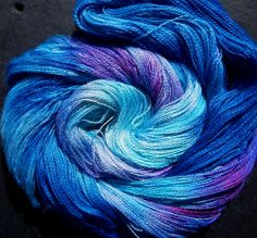 Yarn Alpaca Silk Lace 2ply Hand Dyed Elvincraft SEA SAPPHIRE