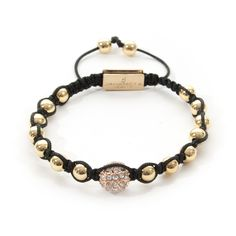 A black colored hand-knotted string, luxury CZ Diamond and modern gold plated elements. Glamour, Product Description, Luxury, Diamond, Bracelets, Gold, Black, Jewelry, Products