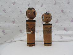 Two Vintage Kokeshi Dolls 1960's, Vintage Japanese Dolls, Japanese Wooden Dolls Signed, Hand Painted Dolls Japan, Vintage Dolls by OpenTwentyFourSeven on Etsy