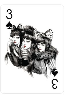 Playing Cards - Three Of Spades, Fashion Playing Cards by Connie Lim - playingcards, playingcardsart, playingcardsforsale, playingcardswithfriends, playingcardswiththefamily, playingcardswithfamily, playingcardsgame, playingcardscollection, playingcardstorage, playingcardset, playingcardsfreak, playingcardsproject, cardscollectors, cardscollector, playing_cards, playingcard, design, illustration, cardgame, game, cards, cardist