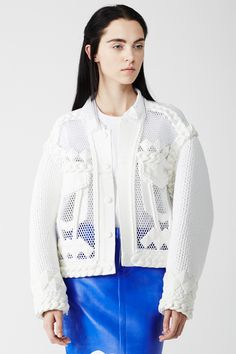 Xiao Li | NETTING EMBELLISHED KNIT-SLEEVES JACKET