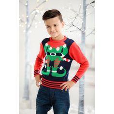 Kersttrui elf rood/blauw voor kinderen. Een grappige rood met blauwe kersttrui met een afbeelding van een kerst elf op de voorkant. Materiaal: 100% acryl. Elf, Christmas Sweaters, Jackets, Products, Fashion, Down Jackets, Moda, La Mode, Elves
