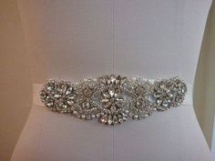 Wedding Belt, Bridal Belt, Sash Belt, Crystal Rhinestone & Off White Pearls - Style B200099M Absolutely Dazzling Finest Crystal Rhinestone