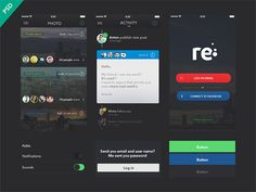 Re is a free UI kit for apps including many useful elements. Free PSD designed and released byAnton Skugarov.
