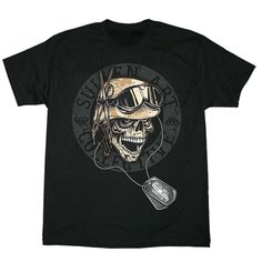 Sullen Art Collective men's Mess Hall tee featuring a skull wearing a helmet and military dog tags. Sullen logo label sewn onto sleeve.