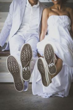 The bride and groom painted the bottom of their wedding Converse to read Mr and Mrs, so cute!The bride and groom painted the bottom of their wedding Converse to read Mr and Mrs, so cute! Unique Wedding Shoes, Designer Wedding Shoes, Unique Weddings, Amazing Weddings, Wedding Colors, Perfect Wedding, Dream Wedding, Wedding Day, Budget Wedding