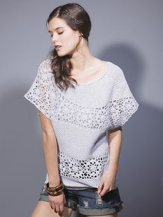 Outstanding Crochet: Crochet white top. Unknown brand.
