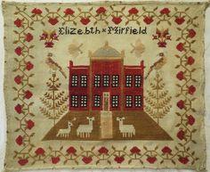 19th Century Red House Sampler by Elizebth Mirfield C 1860 1870   eBay