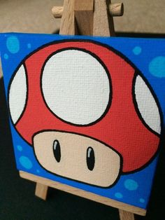 Mario Mushroom Mini-Canvas original painting by ToddTheFoxArt Small Canvas Paintings, Easy Canvas Art, Small Canvas Art, Easy Canvas Painting, Simple Acrylic Paintings, Mini Canvas Art, Diy Canvas, Diy Painting, Acrylic Canvas