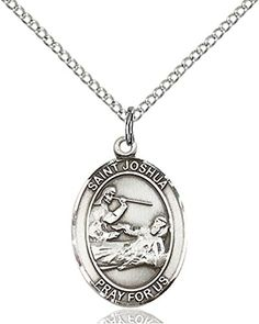 "F A Dumont Sterling Silver St. Joshua Pendant with 18"" Stainless Steel Lite Curb Chain. Patron Saint of Those Named Joshua"