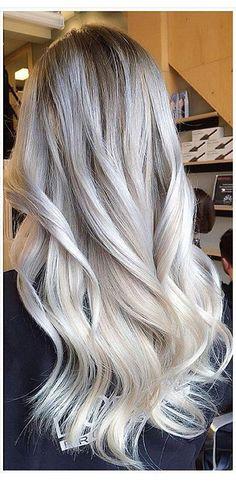 silver white hair More