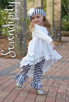Lil' Honey Creme Ruffle Tunic Top & Stripe Bell to Girls Christmas Dresses, Girls Dresses, Flower Girl Dresses, Twirl Skirt, Designer Kids Clothes, Cassie, Juicy Couture, Boutique Clothing, Claire