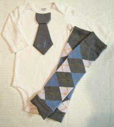 Baby boy tie onesie and leg warmers set with custom initial, argyle, gray and blue, photo prop, baby shower gift, baby boy fashion. $24.95, via Etsy.