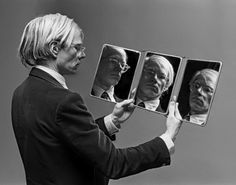 Warhol in 4D | andy warhol | mirrors | reflection | art | artist | suit | serious | www.republicofyou.com.au