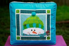 Needlepoint snowman inset boxed pillow finish