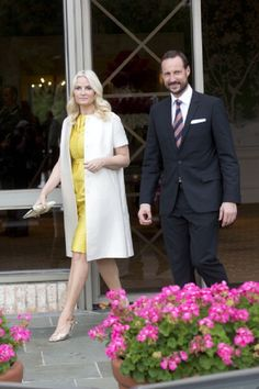 Crown Prince Haakon of Norway and Crown Princess Mette-Marit of Norway attend a buffet dinner, at the River Oaks Country Club, in Houston, Texas