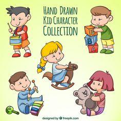 Assortment of hand-drawn children playing Free Vector Quality Carpets, Vector Photo, Kids Playing, Hand Drawn, Badge, Vector Free, How To Draw Hands, Clip Art, Children