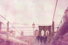 Brooklyn Bridge pink dreamy image of New York by KatiePurnell,