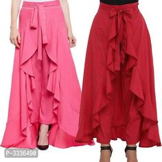 Yoga Showylooks Heavy Crepe Ruffle Premium Free Size Cotton Womens Pallazzo Pants for Party Dance Combo Pack-2