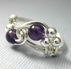 Amethyst Ring Birthstone Jewelry Wire Wrapped Sterling Silver Birthstone Ring - All ... - http://goo.gl/DZJTu3