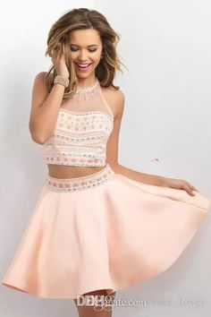 2017 New Cheap Two Pieces Pink Homecoming Dresses Jewel Crystal Beaded Hollow Back Tulle Special Occasion Dresses Party Dress Cocktail Gowns Long Homecoming Dresses Sexy Gowns From Ture_lover, $81.71| Dhgate.Com