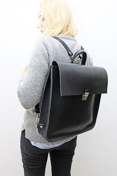 Basic black leather backpack