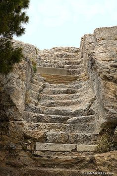 The Apostle Paul ascended these ancient steps to make his famous speech to the philosophers of Athens.  The speech is recorded in Acts 17:22-32.    The Areopagus, as the area atop the rock was called, was a place of discussion of philosophers of the day.  Paul's audience, chiefly Epicureans and Stoics, wanted to know what Paul had been proclaiming in the Agora, a public area a couple of hundred yards away.    The stairs are ancient, and cut into the rock.  The portion pictured is about five…