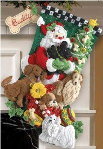 Amazon.com: Bucilla Santa Paws Stocking Felt Appliqué Kit-18-Inches Long: Arts, Crafts & Sewing