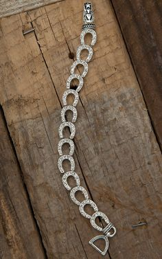 Silver Strike Silver and Clear Rhinestone Horseshoe Stretch Bracelet