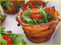 Bacon Salad Bowls  Pre-cook bacon for 3 minutes in the microwave.  Pre-heat oven to 350 degrees  Wrap bacon around a small metal pail.  Cover each pail with foil.  Set pails on cookie sheet.  Bake until bacon is crisp.