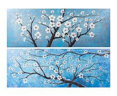 Set de 2 lienzos pintados a mano Ramas - 160x60 cm