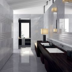 #marble #grey #stripe #bathroom #design #interior #wall #floor Deluxe collection by Marca Corona www.marcacorona.it