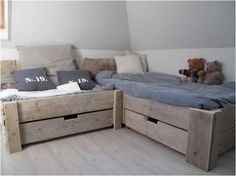 welke.nl - lovely muted colour scheme for kids bedroom, change blue for a different look, coral maybe?