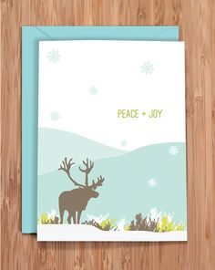 Cyber Monday SALE / holiday card set / peace / reindeer