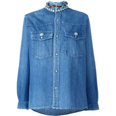 Forte Couture embellished collar denim shirt ($470) ❤ liked on Polyvore featuring tops, blue, denim top, blue denim shirt, blue shirt, denim shirts and shirt top