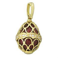 Faberge 18K Yellow Gold Diamond Red Enamel Egg Charm Pendant  @ oakgem.com