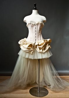 NJ - Custom Size Peach and ivory Burlesque Corset  wedding prom dress with train by Glamtastik