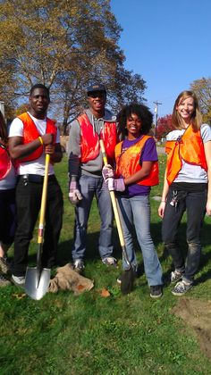Pittsburgh Allies Eric, Anthony, Kayla and Bailey planting trees #publicallies #service #americorps #pittsburgh