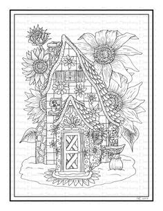 Sunflower Fairy House Printable Coloring Page - Color With Steph Coloring Pages Winter, House Colouring Pages, Coloring Book Pages, Coloring Sheets, Pumpkin Fairy House, Printable Flower Coloring Pages, Online Coloring, Mandala Pattern, Etsy