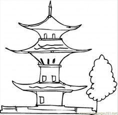 printable pictures of poguda | free printable coloring page Pagoda And A Tree (Architecture ...