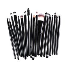 AMarkUp 20 Pcs Pro Makeup Brushes Set Powder Foundation Eyeshadow Eyeliner Lip Cosmetic Clearance Brush (Black) * Check out this great product.