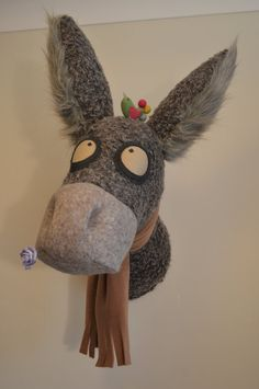 Faux animal Head, Faux animal Taxidermy, Faux Donkey Head, Wall mounted Donkey Bust, Grey Donkey Wall Art. P&p Included.