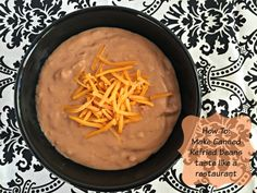 Canned refried beans. Whether you serve these refried beans up as a side dish, or a dip, you will love how easy it is to make a can of refried beans TASTE like they came from your favorite Mexican restaurant! Top Recipes, Bean Recipes, Side Dish Recipes, Cooking Recipes, Side Dishes, Recipies, Yummy Recipes, What's Cooking, Party Recipes