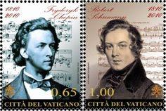 AFNB - Boletim Virtual: Frédéric CHOPIN e Robert SCHUMANN - 200 anos -  Frédéric CHOPIN e Robert SCHUMANN - 200 anos Selo emitido pelo Vaticano em comemoração ao bicentenário de nascimento de Chopin e Schumann.