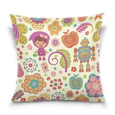 Cotton Velvet Decorative Square Throw Pillow Cover Pillowcase Cushion Cover 20x20 InchesRobot and Girl on Both Sides ** This is an Amazon Affiliate link. Read more at the image link.