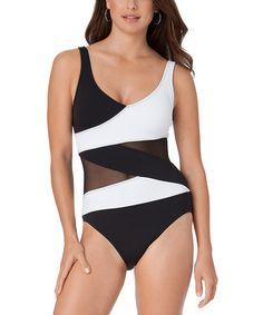 8ca3bb29dd8b2 Anne Cole Black   White Mesh One-Piece. 1 Piece SwimsuitBest ...