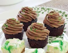 A little nip of Guinness ale gives these Chocolate-Guinness Mini Cupcakes their unique flavor. #cupcakes