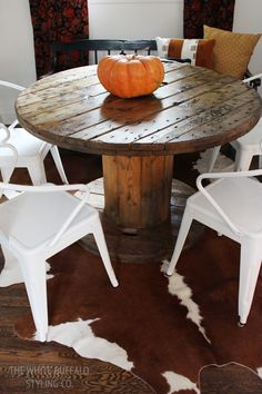 Wire Spool Dining Table and Simple Heirloom Pumpkin